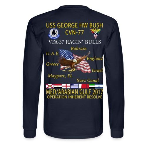 USS GEORGE HW BUSH w/ VFA-37 RAGIN' BULLS 2017 CRUISE SHIRT - LONG SLEEVE - Men's Long Sleeve T-Shirt