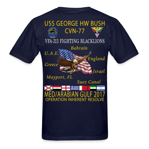 USS GEORGE HW BUSH w/ VFA-213 FIGHTING BLACKLIONS 2017 CRUISE SHIRT - Men's T-Shirt