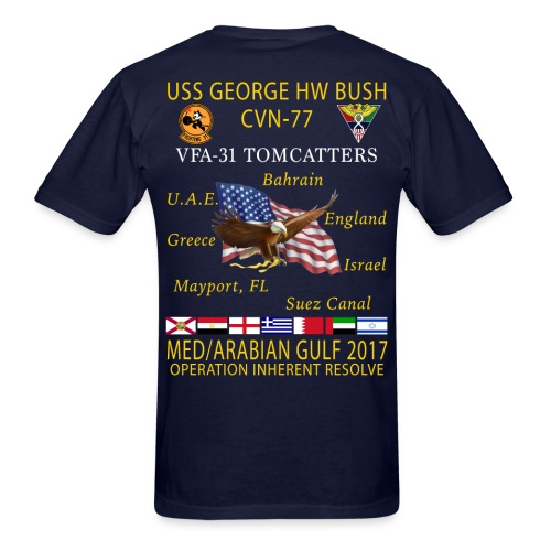 USS GEORGE HW BUSH w/ VFA-31 TOMCATTERS 2017 CRUISE SHIRT - Men's T-Shirt