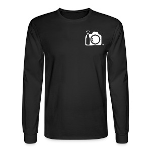 Men's Long Sleeve Black Relaxed -Drink and Click Logo front with Drink and Click ATX At The Back - Men's Long Sleeve T-Shirt