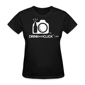 Women's Short Sleeve Black Relaxed - Drink and Click Logo front with Drink and Click ATX - Women's T-Shirt