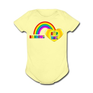 Rainbows Stop Hate Infant Clothing  - a part of the profits will go to the SPLC thru the end of 2018 - Short Sleeve Baby Bodysuit