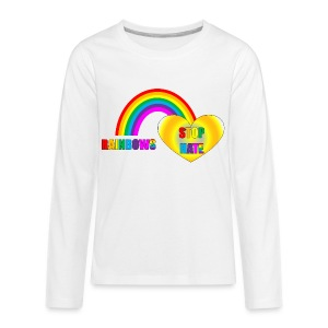 Child Size top in White Rainbows Stop Hate -a part of the profits will go to the SPLC thru the end of 2018 - Kids' Premium Long Sleeve T-Shirt