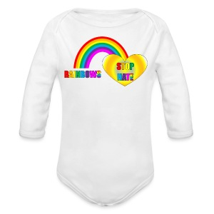 Rainbows Stop Hate Long Sleeve - a part of the profits will go to the SPLC thru the end of 2018 - Long Sleeve Baby Bodysuit