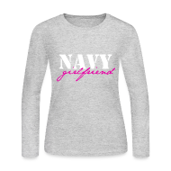 Long Sleeve Shirts ~ Women's Long Sleeve Jersey T-Shirt ~ Navy GF