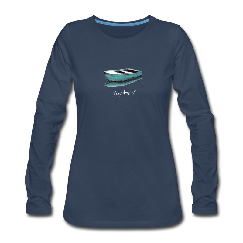 Blue Boat Tshirt design7P - Women's Premium Long Sleeve T-Shirt