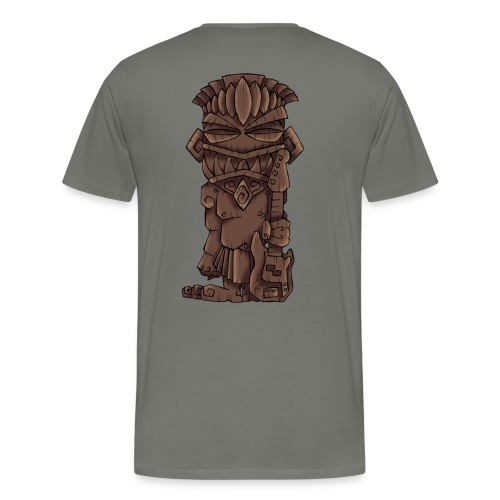 [mens] Electric Bass Tiki God - Signature Bass Musician Magazine Design by Jon Moody - Men's Premium T-Shirt