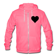 Zip Hoodies & Jackets ~ Unisex Fleece Zip Hoodie by American Apparel ~ HeartLine fleece hoodie