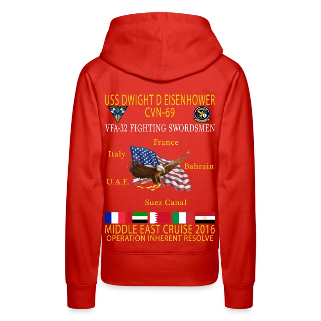 IKE AIRWING - VFA-32 FIGHTING SWORDSMEN 2016 CRUISE HOODIE (80/20) - WOMEN'S