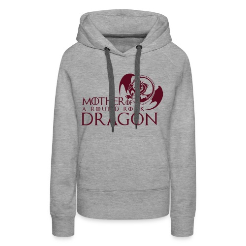 Light Heather Grey Woman's Hoodie | Maroon Mother of A Round Rock Dragon - Women's Premium Hoodie