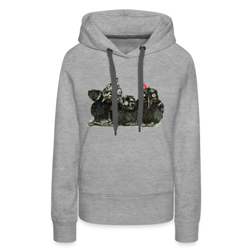 Three Crows With Red Feather - Women's Premium Hoodie