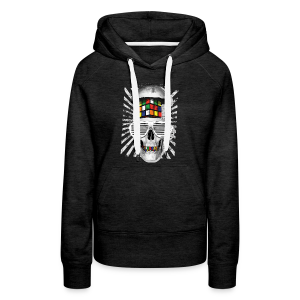 Rubik's Cube Skull With Sunglasses - Women's Premium Hoodie