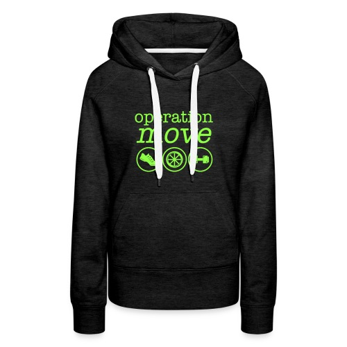 Heavyweight Hoodie - Charcoal with Green Print - Women's Premium Hoodie