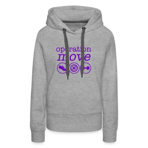 Heavyweight Hoodie - Grey with Purple Print - Women's Premium Hoodie