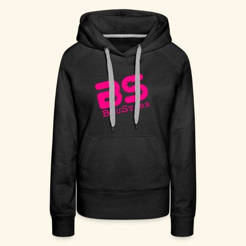Women's Premium Hoodie, Black w/Neon Pink - Women's Premium Hoodie