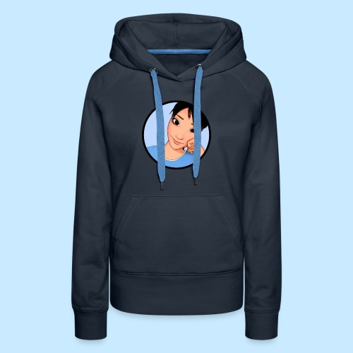 Cheek + back text (womens premium) - Women's Premium Hoodie