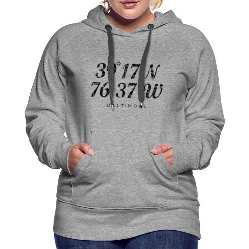 Baltimore Coordinates Hoodie (Women/Gray) - Women's Premium Hoodie