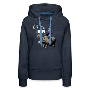 Girl on a Hippo Womens Cut Hoodie - Women's Premium Hoodie