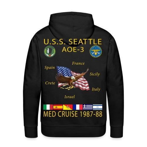 USS SEATTLE 1987-88 CRUISE HOODIE - Men's Premium Hoodie