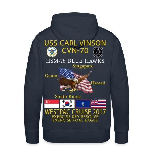 USS CARL VINSON CVN-70 w/ HSM-78 WESTPAC CRUISE 2017 HEAVYWEIGHT (80/20) HOODIE - Men's Premium Hoodie
