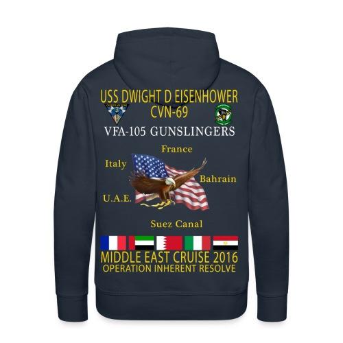 IKE AIRWING - VFA-105 GUNSLINGERS 2016 CRUISE HOODIE (80/20) - - Men's Premium Hoodie