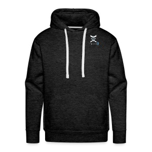 MEN White/Blue logo- (PALMER) - Men's Premium Hoodie