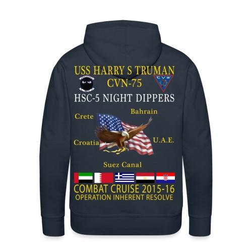 USS HARRY S TRUMAN w/ HSC-5 NIGHT DIPPERS 2015-16 CRUISE HOODIE - Men's Premium Hoodie