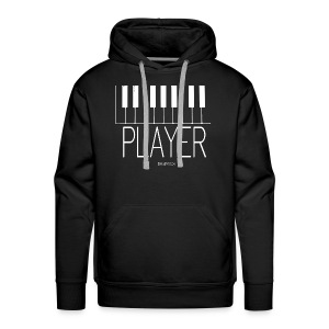Player (Piano) Premium Heavyweight Hoodie in Black with White Keys - Men's Premium Hoodie