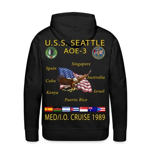 USS SEATTLE 1989 CRUISE HOODIE - Men's Premium Hoodie