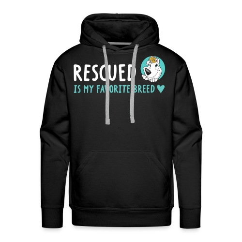 Rescued Is My Favorite Breed (I Heart Family Dog Rescue on Back): Men's Hoodie - Men's Premium Hoodie