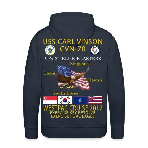 USS CARL VINSON CVN-70 w/ VFA-34 WESTPAC CRUISE 2017 HEAVYWEIGHT (80/20) HOODIE - Men's Premium Hoodie