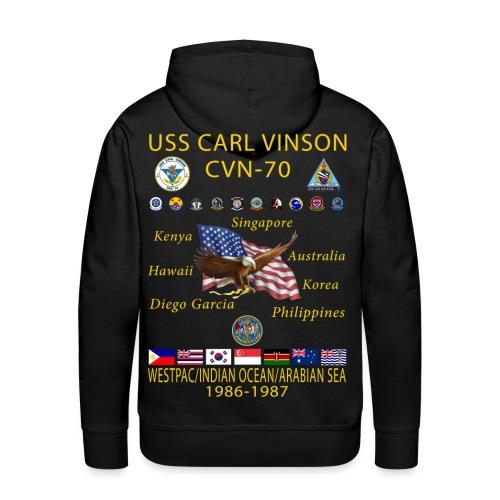 USS CARL VINSON CVN-70 WESTPAC/IO/ARABIAN SEA 1986-87 HOODIE - Men's Premium Hoodie