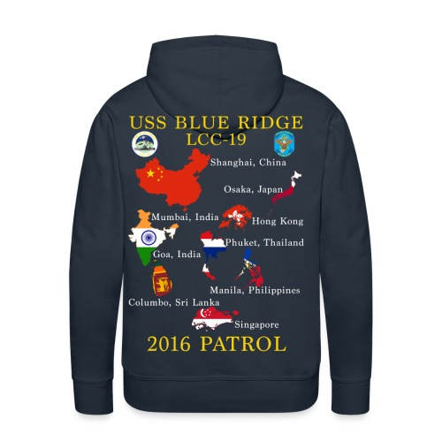 USS BLUE RIDGE LCC-19 2016 SPRING PATROL HOODIE (MAP) - Men's Premium Hoodie