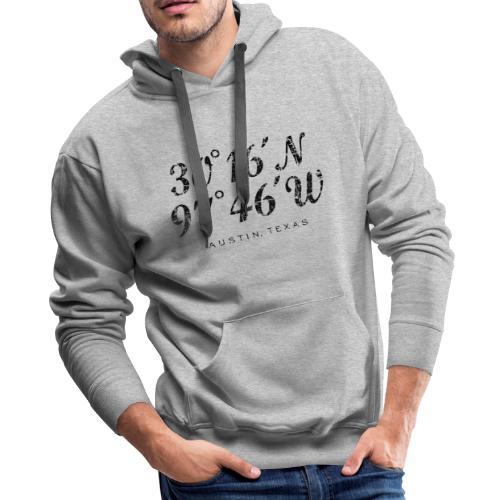 Austin Coordinates Hoodie (Men/Gray) - Men's Premium Hoodie