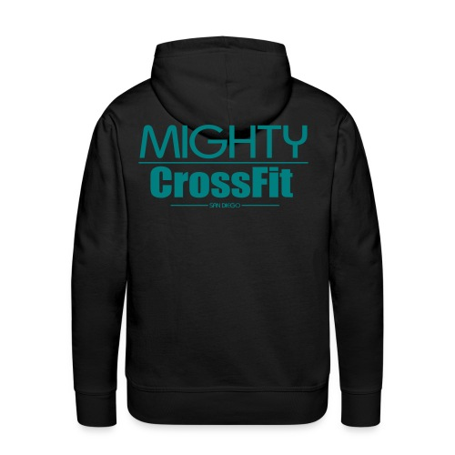 Mighty Hoodie - Teal on Black (Mens) - Men's Premium Hoodie