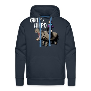 Girl on a Hippo Mens Hoodie with Text - Men's Premium Hoodie