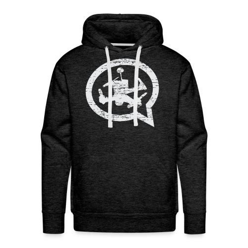 Men's Distressed Quad Talk Podcast Hoodie-Gray - Men's Premium Hoodie