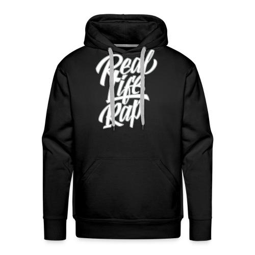 Real Life Rap Hoodie (wht/gry design) - Men's Premium Hoodie
