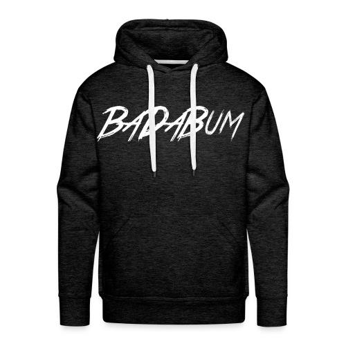 BaDaBum Brush Script (White) Hoodie Charcoal - Men's Premium Hoodie