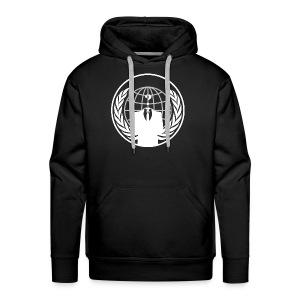 Anonymous Logo White Hoodie - Men's Premium Hoodie