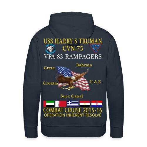 USS HARRY S TRUMAN w/ VFA-83 RAMPAGERS 2015-16 CRUISE HOODIE - Men's Premium Hoodie