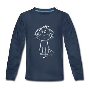 Cat scribblesirii white - Kids' Premium Long Sleeve T-Shirt