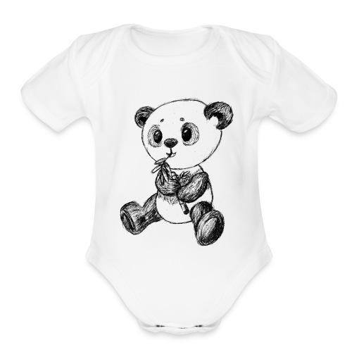 Panda Bear scribblesirii black - Organic Short Sleeve Baby Bodysuit