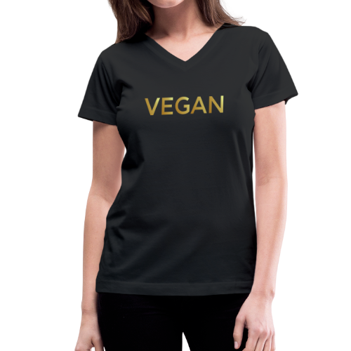 VEGAN Gold V-Neck T-Shirt - Women's V-Neck T-Shirt
