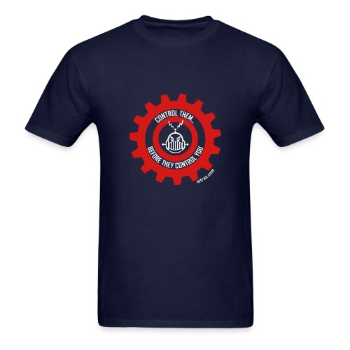 MTRAS Control The Robots Red & White Tshirt - Men's T-Shirt