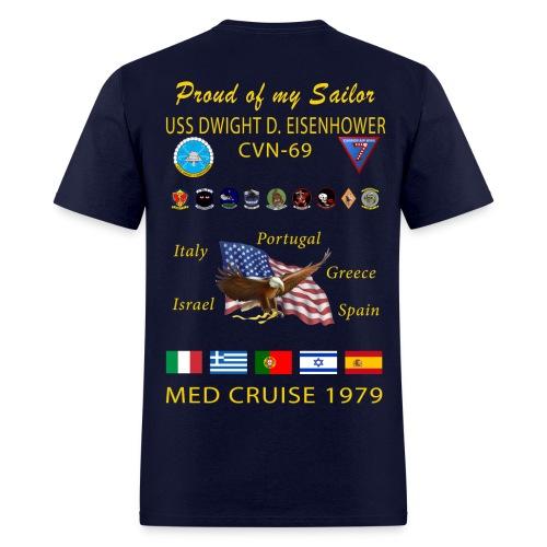 USS DWIGHT D EISENHOWER CVN-69 MED CRUISE 1979 CRUISE SHIRT - FAMILY EDITION - Men's T-Shirt