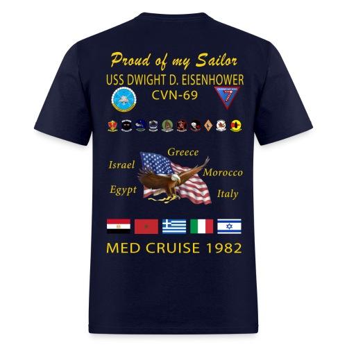 USS DWIGHT D EISENHOWER CVN-69 MED CRUISE 1982 CRUISE SHIRT - FAMILY EDITION - Men's T-Shirt