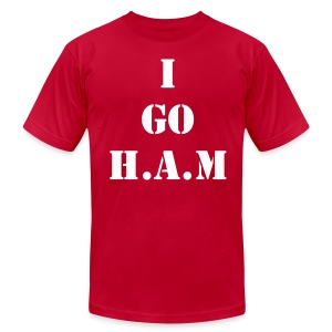 Men's Official Slogan T-Shirt Red & White - Men's T-Shirt by American Apparel