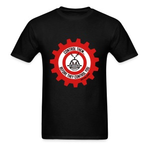 MTRAS Control The Robots Black, Red & White Tshirt - Men's T-Shirt