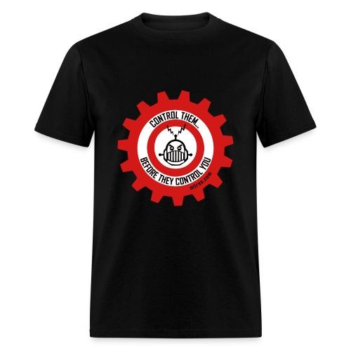MTRAS Control The Robots Black, Red & White Tshirt - Men's T-Shirt